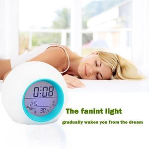 Mini Farbwechsel Digitale LED Wake up Licht 7 Farbwechsel Wecker Thermometer Mit Natur Sound Nachtlicht XD23391