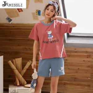 JRMISSLI Pijamas Suit Para Mulheres animal Cotton Pijama conjunto de pijama terno verão lar Roupa Set