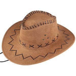 Whoohoo unisexe adulte Ouest Cowboy solide Casual Chapeau mongol Chapeau Grassland Pare-soleil Cap Femmes Summer Beach Voyage