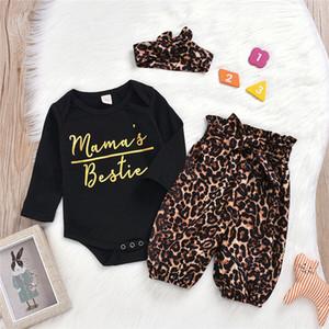 Niño para niños de los bebés ropa del estampado leopardo del vendaje pantalones arco de la venda alrededor del cuello de la manga larga mono del 3 piezas preciosas Trajes