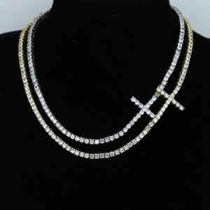 """3mm cz tennis chain choker necklace in silver color sideway cross charm necklace 15"""" 16"""" iced out bling women hip hop jewelry"""