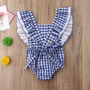 Newborn Infant Baby Girls Jumpsuit Blue White Plaids Backless Bodysuit Playsuit Sleeveless Cotton Outfits Baby Girl 0-24M
