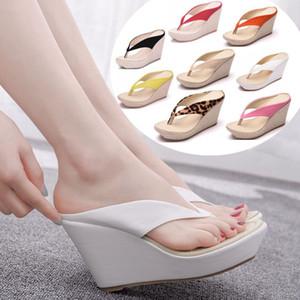 Platform Wedges Sandals Wedges Flip Flops High Heel Sandals Slippers White Beach Sandals Bohemia Flip Flops Pink