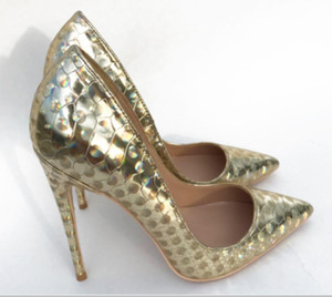 2019 Golden Phantom Laser Fine-heeled Tip-heeled High-heeled Shoes Shallow-mouthed Single Shoes large size 44 nightclub dress 8cm 10cm 12cm