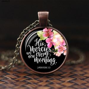 Bibel-Vers-Anhänger-Charme-Halskette Blumen-Kunst-Glas-Cabochon Christian Zitat Schmuck Christlicher Glaube Geschenk für Frauen Männer