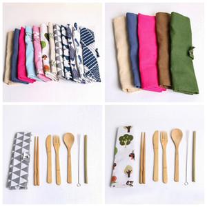 7PCS / SET Tragbares Besteck Set im Freien Spielraum Bambus Besteck Set Messer, Gabel, Löffel Stäbchen Geschirr-Sets für Schüler Geschirr ZZA1840