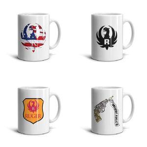 Weiß Ruger-Fliegen-amerikanisch-flag-folds- Keramik-Becher Einfach Lustig Kaffeetasse Souvenir täglichen Gebrauch Tee Tassen Ruger Fliegen amerikanische Flagge Falten