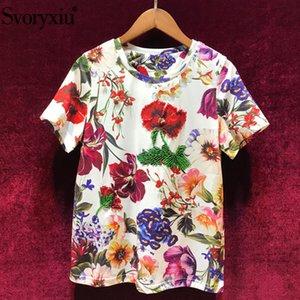 Svoryxiu 2019 New Women's Summer Flower Print Short Sleeve T Shirts Fashion Casual Beading Designer Tops Tees Female Y200623