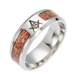 Unisex 316L Surgical Stainless Steel Ring with Wood Inlay Titanium Steel Fashion Band Ring For Men Boy Youth Ring