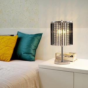 New design modern creative  D 25cm x H 47cm crystal black table lamps led desk light for reading room bedroom study room