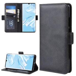 Para Huawei P30 Pro Duplo Buckle Crazy Horse Negócios Mobile Phone Holster com o cartão Função Carteira Bracket