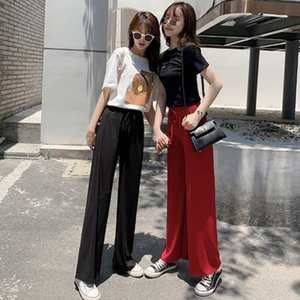 Taille haute Loose Women Pantalon large Leg Soie Ice Summer Soft Comfort Pantalon Femme 2020 Mode Casual solide à long Slacks Lady