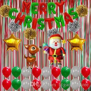 htgar Free Shipping Hot Party Decorations Balloons Christmas Decoration Background Set Santa Elk Pentagram Aluminum Foil Balloon Party