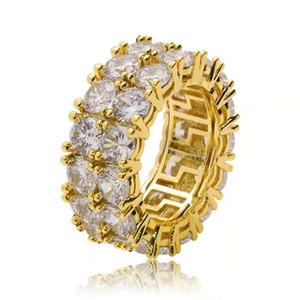 hip hop plein diamants bague pour hommes femmes western Double rangée de pierres côté pierre véritable or plaqué strass bijoux de cuivre livraison gratuite
