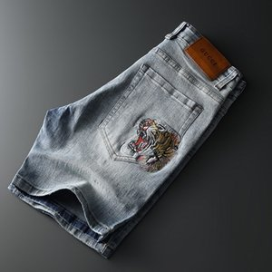 Yeni Geliş Erkek Jeans Kısa Mavi Vintage Stil Delik Moda Erkek Jeans İnce Biker Motosiklet Nedensel Erkek Hip Hop Pantolon Ripped