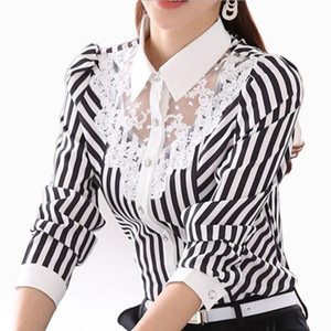 Long Sleeve Lace Tops Striped Blouse Women Spring Autumn Turn-Down Collar OL Blouses Female shirt