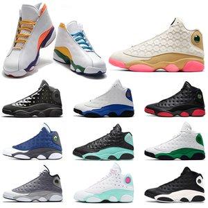 Nike Air Jordan 13 Retro hommes chaussures de basket-ball 13 Cap et robe atmosphère gris il a obtenu le jeu chat noir race fantôme sport formateurs baskets taille 41-47