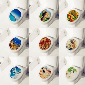 Pegatinas del asiento del inodoro para la sala de lavado WC decoración del hogar DIY Vivid tatuajes de pared letrero de baño PVC Mural Art Stickers