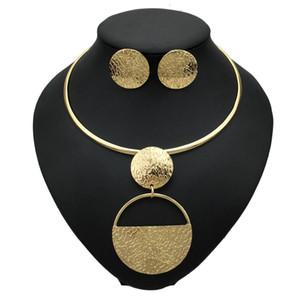 펑크 골드 컬러 기하학적 금속 패션 주얼리 여성 초커 목걸이 귀걸이 세트 진술 액세서리에 대한 설정