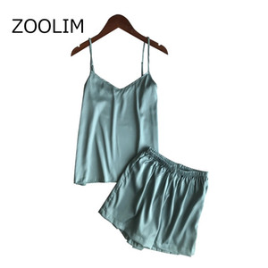 ZOOLIM Kadınlar Pijama Şort Pijama Sleepwear ile Saten pijamalar İpek Pijama Bayanlar Gecelikler Kadın pijamalar ayarlar