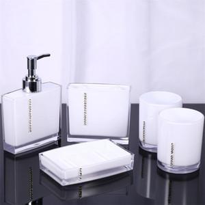 Acrylique Lotion Bouteille Brosse à dents Porte-savon Wash Set Emulsion famille Bouteille Distributeur de savon Accessoires de bain Set
