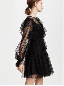 vestido de encaje con cuello en V del lunar ondulada perspectiva rizado Negro linterna de la manga de la alta cintura una línea de falda del puente