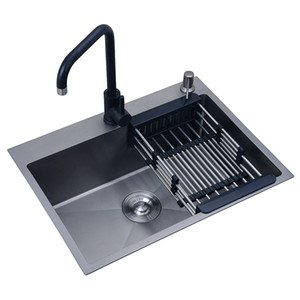 30-inch 11 Gauge Kitchen Sinks Undermount Nano Black Sink Stainless Steel Hand Thickened Kitchen Single Slot with Drain Strainer