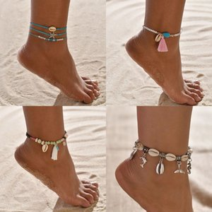 5 stili in lega di Boho fascino dei calzini per le donne Shell Dolphin nappa Seed Beads del piede del braccialetto di promenade di Beach Fashion Ocean Jewely