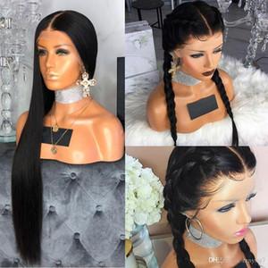 Pelucas de cabello humano de encaje completo con cabello bebé recto peruano remy pre arrollado trenzado sin glóvía peluca de encaje completo para mujeres