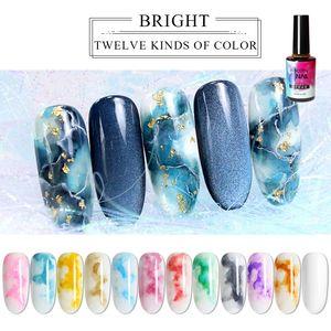 Prego 15ml Watercolor Polish Blooming DIY unhas de gel Manicure Decor Salon Set fumaça efeito da bolha Varnish Manicure Acessórios