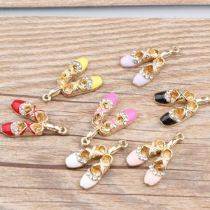 5 Pcs DIY Fashion Charms Gifts Enamels Rhinestone Ballet Shoes Alloy Pendant Making Hair Bracelet Necklace Jewelry Accessories
