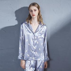 I nuovi pigiami primavera e l'autunno di seta di simulazione di stampa manica lunga insiemi a due pezzi pigiama servizio a domicilio donne pigiama de Mujer