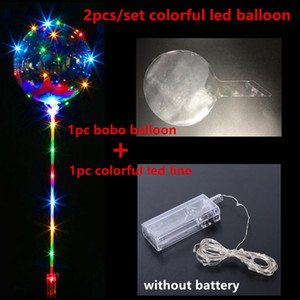 Bobo Ball LED Line With Stick Wave Ball Wave String Ballon Light Up For Christmas Halloen Wedding Birthday Home Party