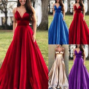 Sexy V шея атласные Длинные платья для женщин 2020 бретелек Maxi платья с Карманой Backless Плюс Размер партии Gowns