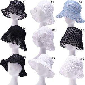 Кружева цветочные Рыбак Hat Женщины INS лето Bucket Hat выдалбливают Цветы Sun Шляпы Зонт дышащий Caps LJJO7916