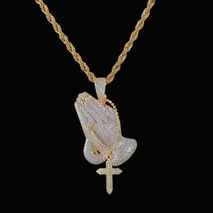 Catena Croce Collana Layered Gesù Vergine Maria oro degli uomini di colore argento Pregare monili del regalo di Pendant mano Giorno collana di Pasqua