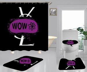 Preto com a letra conjuntos de impressão do banheiro 4PCS / 3PCS cortina de chuveiro Toilet Tampa para homens e mulheres decoração do banheiro Bath Rug Conjuntos