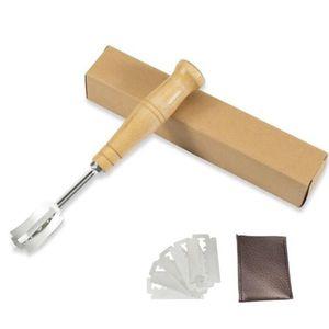 Специализация Bread Arc изогнутый нож Wood Handle 5шт Замена лезвия Western Багет резки французский Тост Бублик Cutter ZC2682