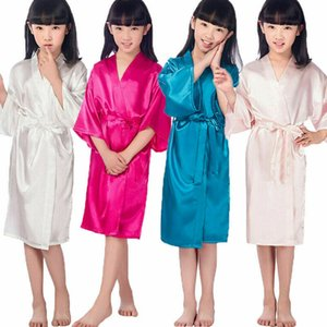 Kids Girls Silk Satin Short Kimono Robes Dress Gown Bathrobe Pyjamas Sleepwear
