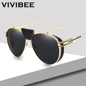 VIVIBEE ouro UV400 Homens Aviação óculos de sol com couro Vintage piloto Mens Metal Alloy Óculos 58mm