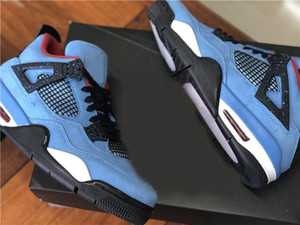 2019 Melhores autênticos 4 x Travis Scott Cactus Jack 4S Houston Oliers Universidade sapatos azuis Varsity Red Black Men Basquete Sneaker 308497-406