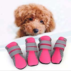 Summer Pet Dog Shoes 4Pcs Set Breathable Diving Fabrics Small Large Dog'S Boots Non-Slip Reflective For ChiHuaHua