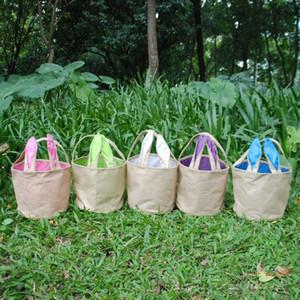 Burlap Easter Bucket Bag Джут Корзина с кроличьими ушками хранения сумка DIY Симпатичной пасхальных подарков сумка Rabbit Ears Положите пасхальные яйца мешок 5 Цвет