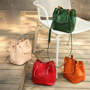 YIFANGZHE 2019 Fashion Genuine Leather Bag Women, High Quality Messenger Crossbody Bags with Drawstring Design Roomy Phone