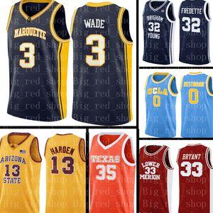 cucito NCAA Jersey Dwyane Wade 3 pullover di pallacanestro Mens NCAA Università a buon mercato all'ingrosso del ricamo della Jersey Logos