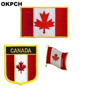Insigne de patch drapeau du Canada 3pcs un ensemble de correctifs pour vêtements décoration bricolage PT0083-3