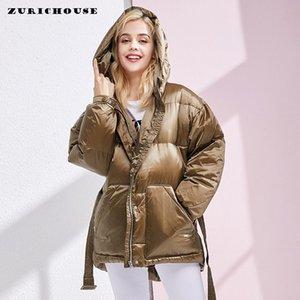 Winter 90% weiße Ente Daunenjacke Frauen Wärme Mantel mit Kapuze Weibliche Parkas 2019 neue Ankunfts-Gebunden Taille Design Frauen Daunenjacke