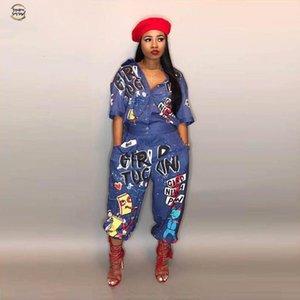 Yeni Stil Marka Moda hip hop tarzı Kadınlar Tulum Özel Harf Yaka Yarım Kol Romper Ld8103 Turn Down