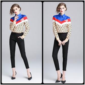 Nova Queda Primavera Runway Moda Feminina Listrado Impressão Geométrica Elegante Blusas Senhora Escritório Sexy Magro Contraste Cor Camisas de Manga Longa Tops