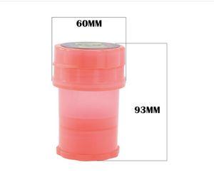 60MM Bottle Grinder Wasserdicht Air Tight Medical Grade Kunststoff Abraser Hand Tabak Herb Plastikgehäuse Lagerung 3-Schicht-Schleifmaschinen